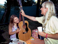 Diane Brokenshire with Kate's guitar, Kate Wolf Music Festival, 2002