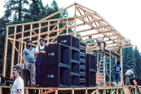 Kent Stevenson, John Celucci, Doug Rogers Constructing the Main Stage Strawberry Bluegrass Festival 1983 Camp Mather