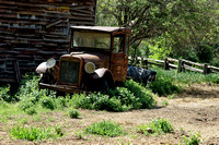 Old truck and ranch building, Wards Ferry Road, Tuolumne County, April 20, 2016