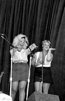 Friends of Slade, The Beehive Women, backing-up Red Knuckles & the Trailblazers, (l-r) Kathy Kallick, Sally Van Meter, Strawberry Music Festival, Fall, 1985