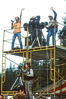 "Shmuel Thayer, Peter Fox, Jim Brown, Tim Konrad (below) Shooting the ""Class Portrait,"" Strawberry Music Festival, Spring, 1987"